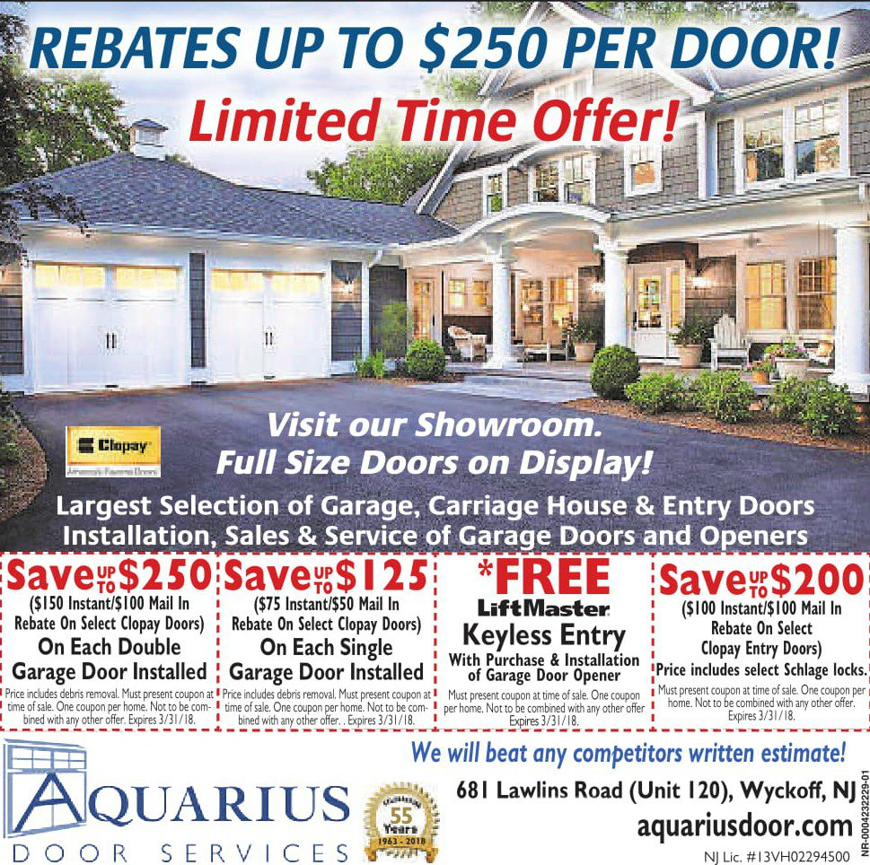 Aquarius Door's Coupons in Wyckoff