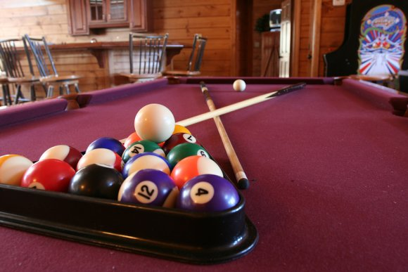 ready to play pool table in gameroom